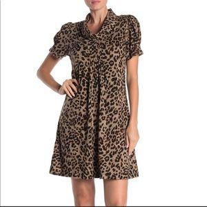 Eliza J Cowl Neck Leopard Animal Print Dress M